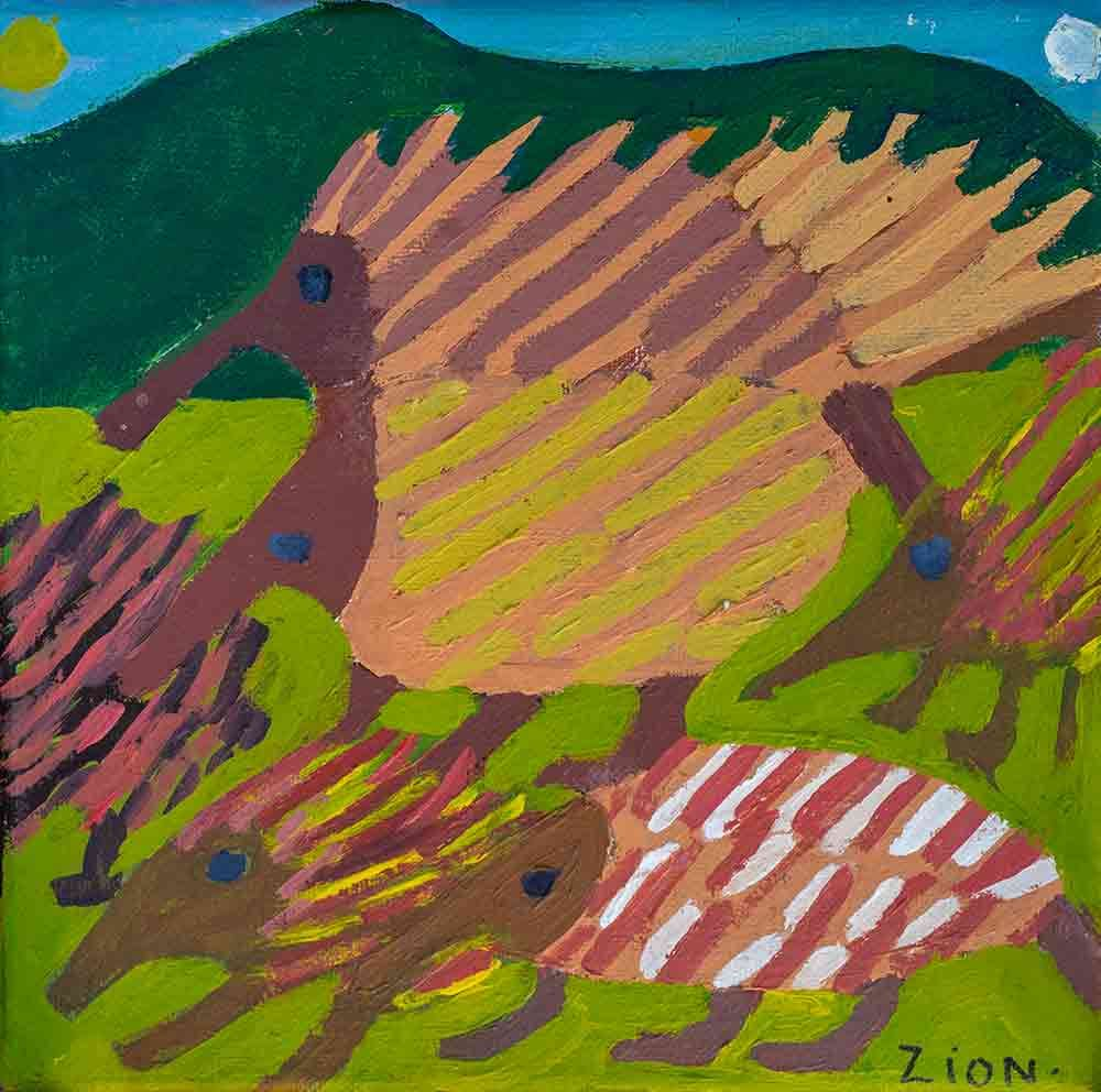 Echidnas acrylic on canvas Zion Levy Stewart