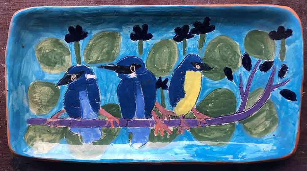 Three Little Birds Rectangle plate ceramic Zion Levy Stewart Paintings and Ceramics Mullumbimby Australia