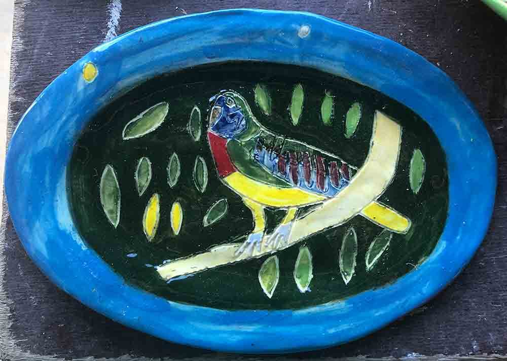 Rainbow Lorikeet Plate Zion Levy Stewart Art and Ceramics