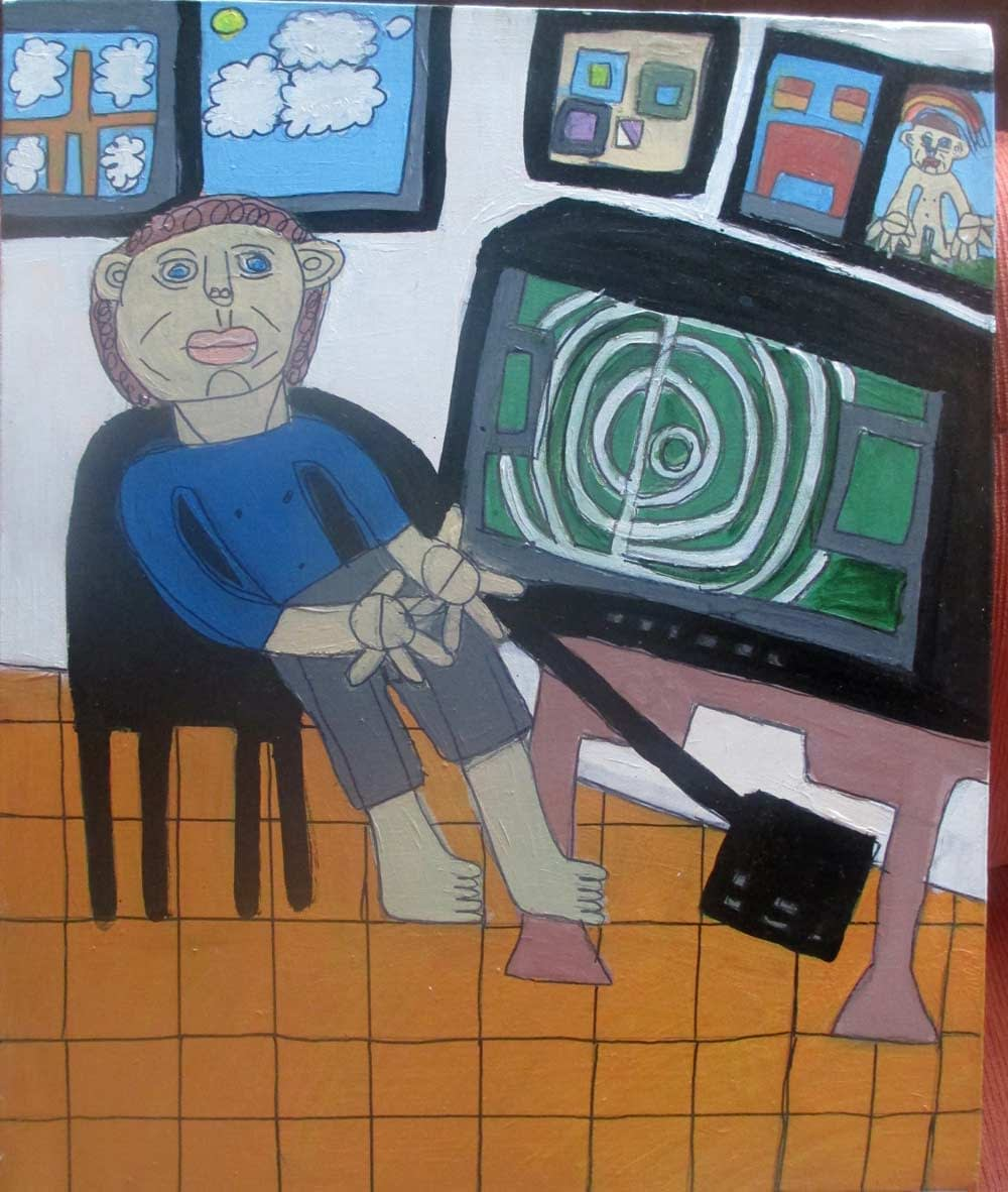 Watching Television a Painting by Zion Levy Stewart an artist from Mullumbimby Australia