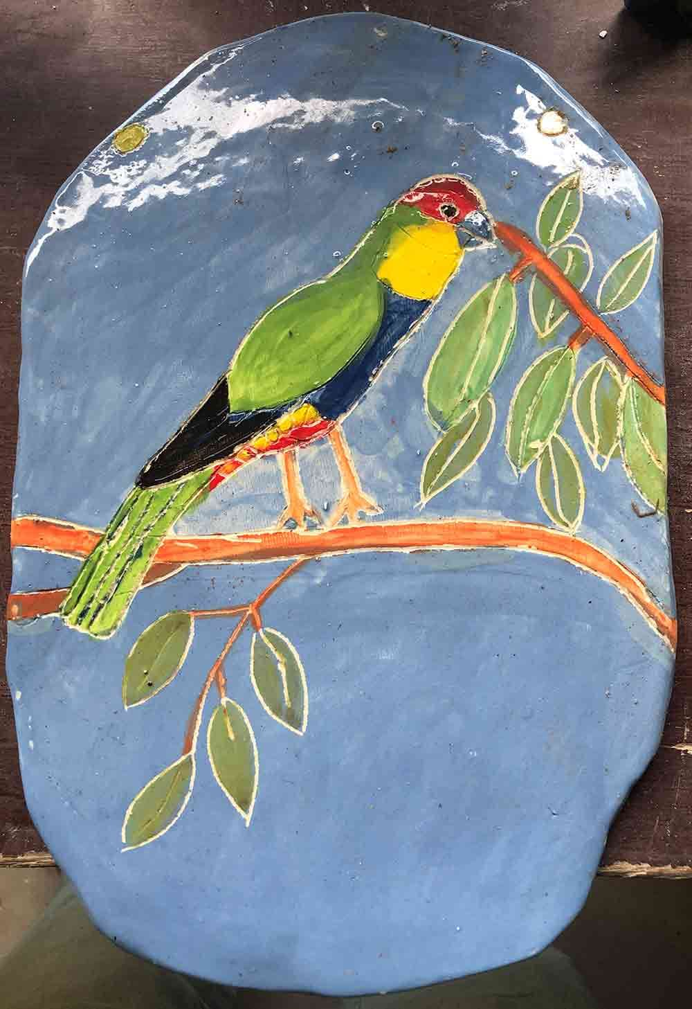 Parrot Platter ceramic Zion Levy Stewart Paintings and Ceramics Mullumbimby Australia