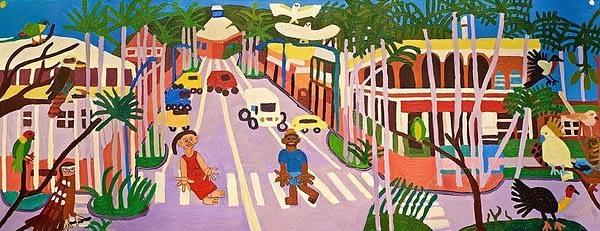 Downtown Mullumbimby Greeting Card Zion Levy Stewart Artist Mullumbimby