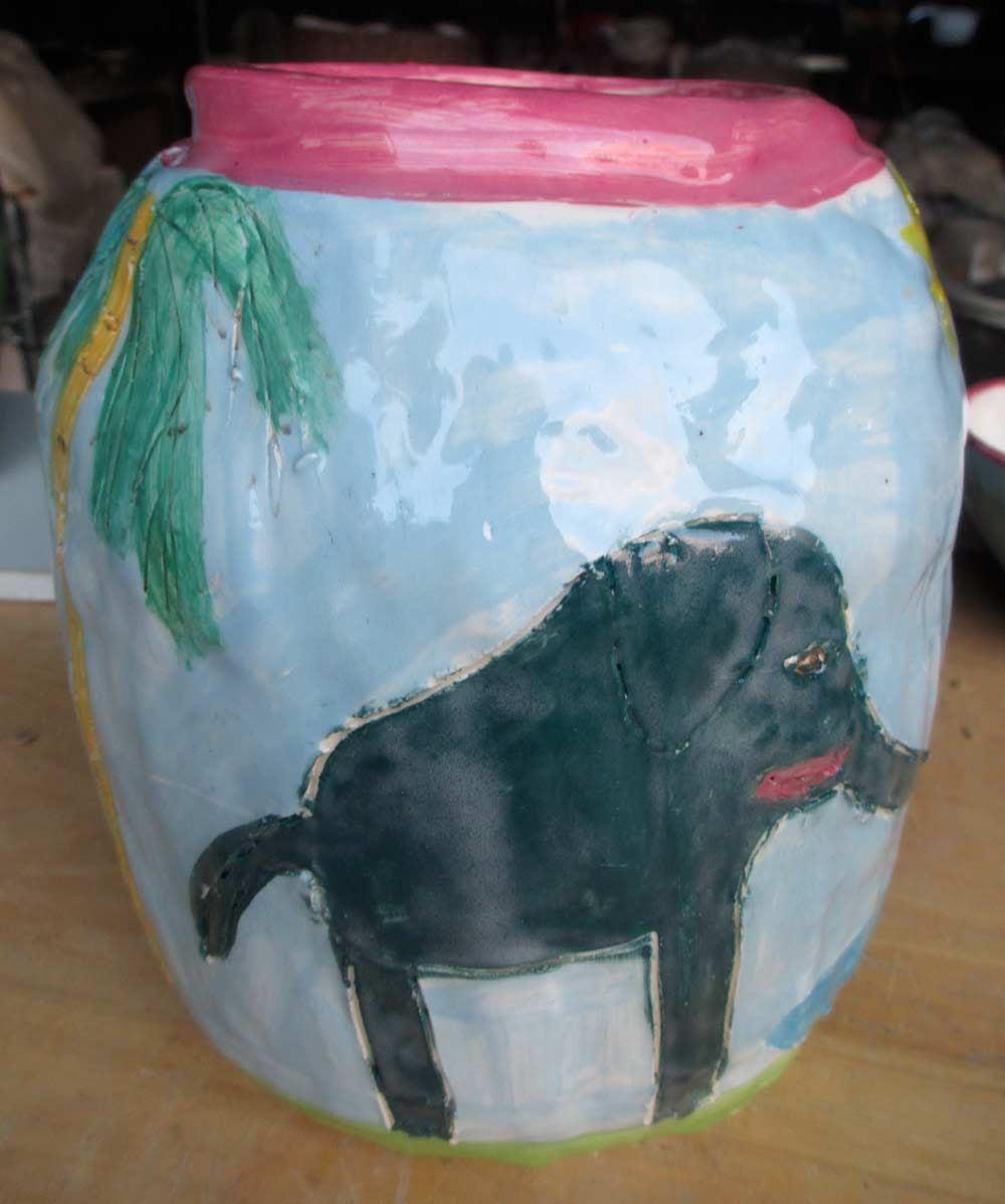 Elephant Vase Zionart Ceramic Art Studio Mullumbimby Australia