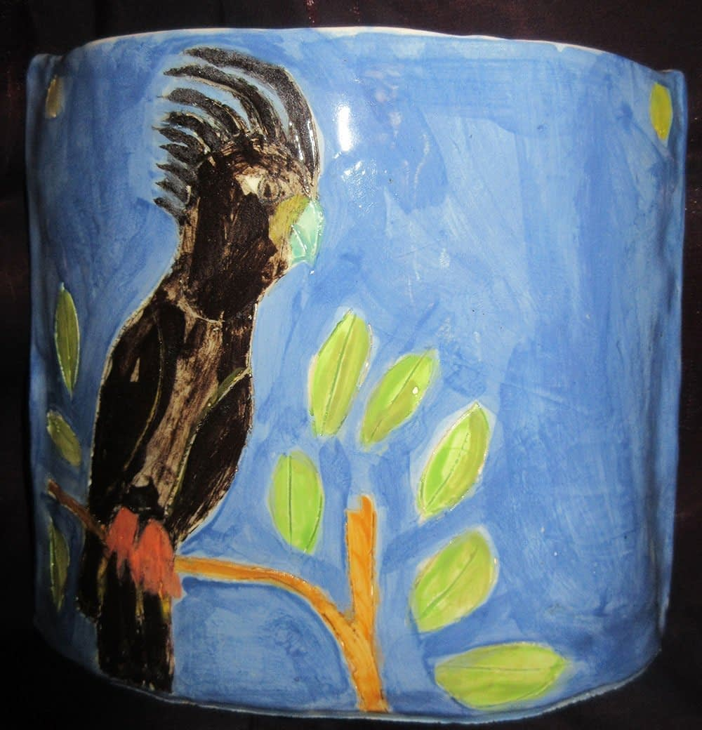 Black Cockatoo Vase Zion Levy Stewart Ceramics