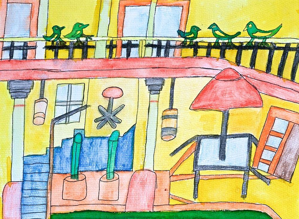 Oaxaca Home Pen and wash art with heart. Zion Stewart Levy Mullumbimby Artist