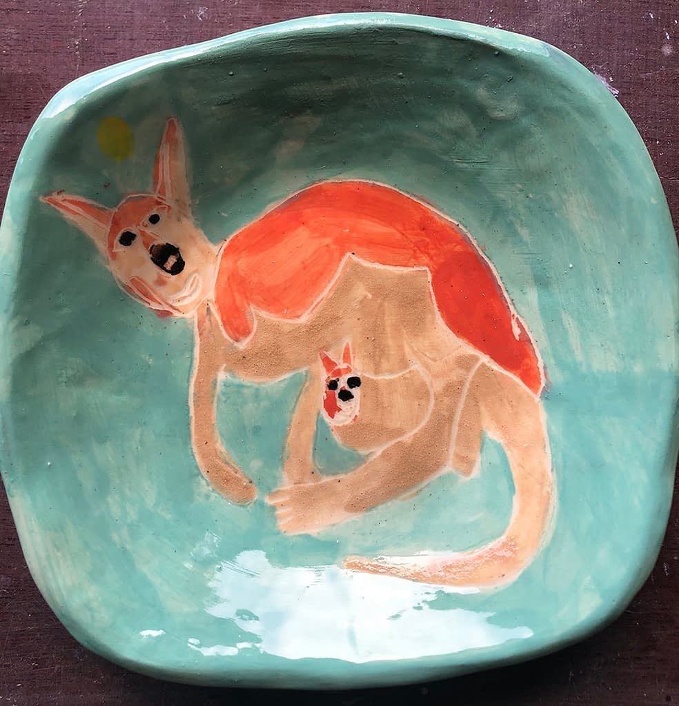 Wallaby Square Plate ceramic Zion Levy Stewart Paintings and Ceramics Mullumbimby Australia