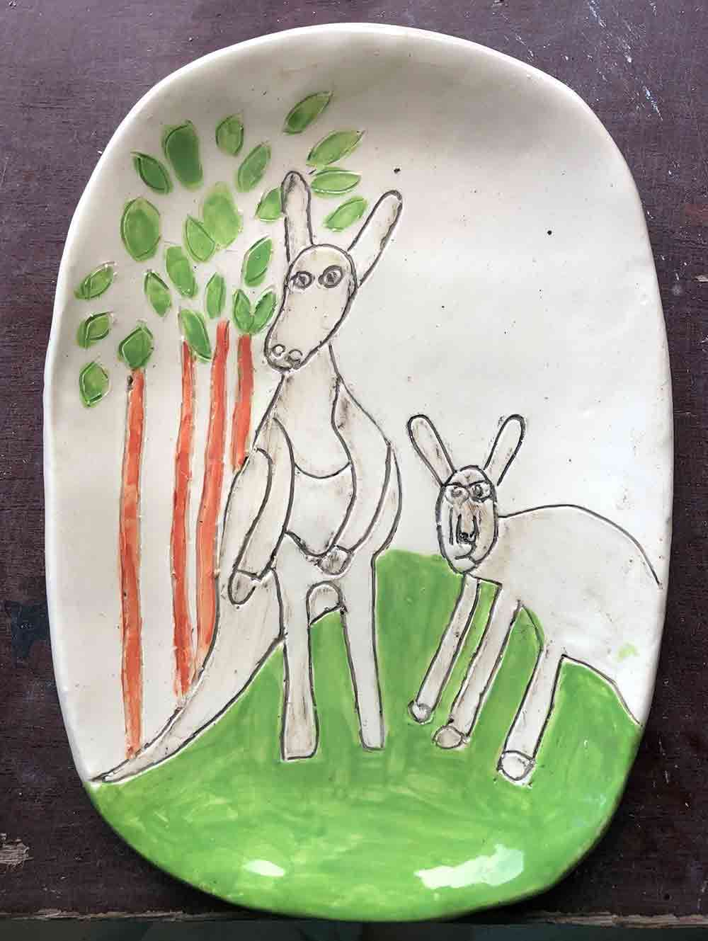 Wallaby Plate ceramic Zion Levy Stewart Paintings and Ceramics Mullumbimby Australia