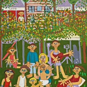 Mullumbimby Market Life Greeting Card Zion Levy Stewart Art Sale