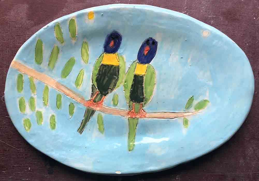 Two Parrots Oval Plate ceramic Zion Levy Stewart Paintings and Ceramics Mullumbimby Australia