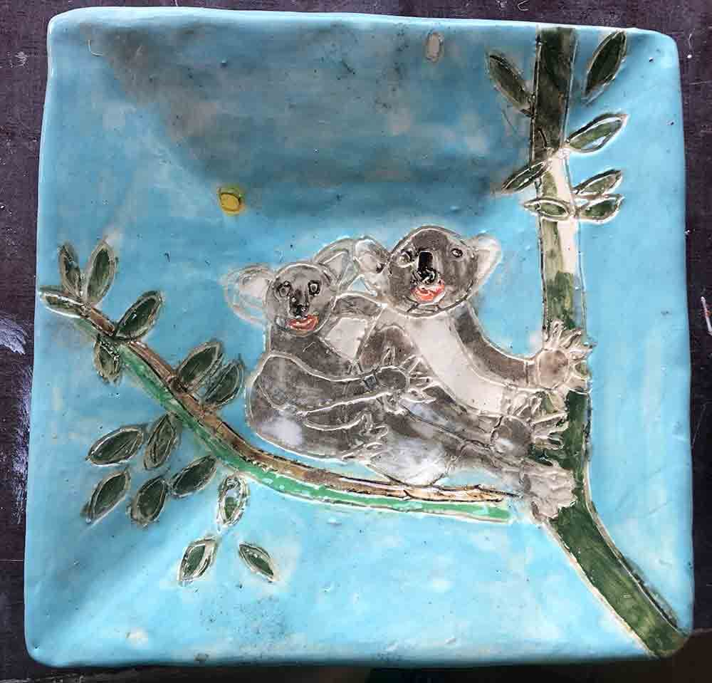 Koala Plate handmade ceramic Zion Levy Stewart
