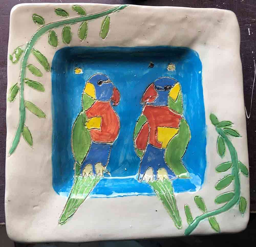Rosella Plate ceramic Zion Levy Stewart Paintings and Ceramics Mullumbimby Australia