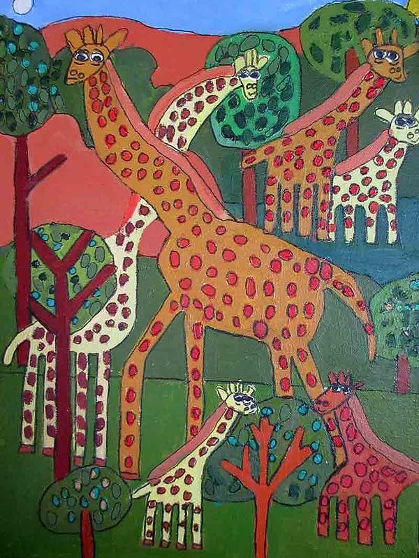Giraffes Greeting Card Zion Levy Stewart Artist