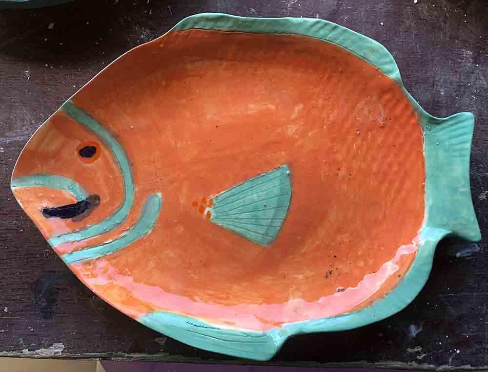 Salmon Fish Plate Zion Levy Stewart Artist