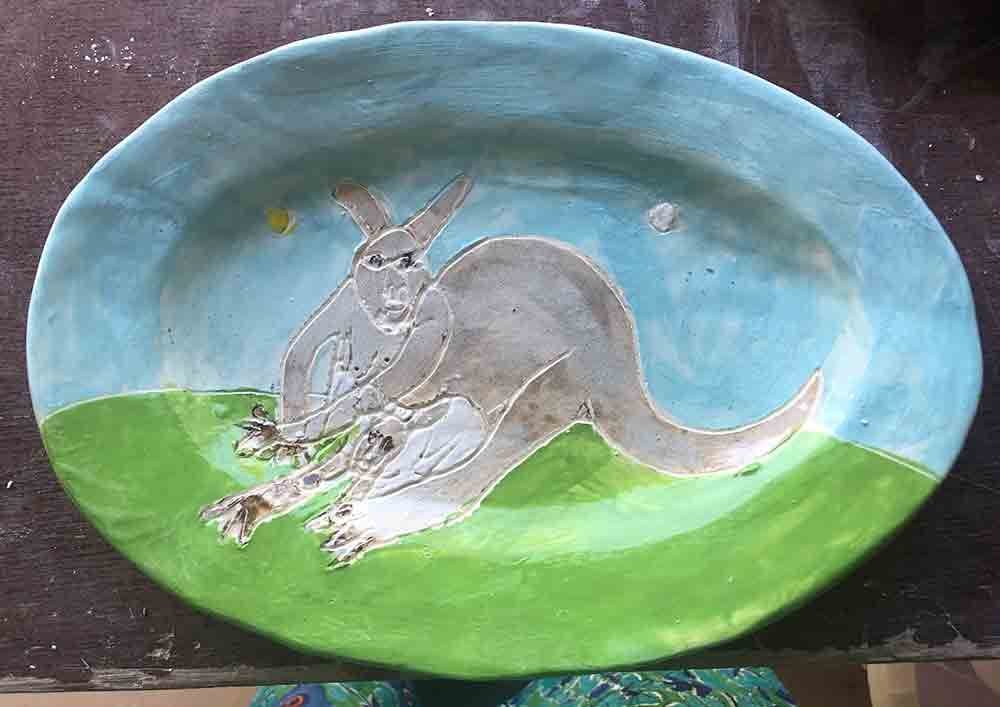 Wallaby Blue Plate Zion Levy Stewart Original handmade Ceramics and Art