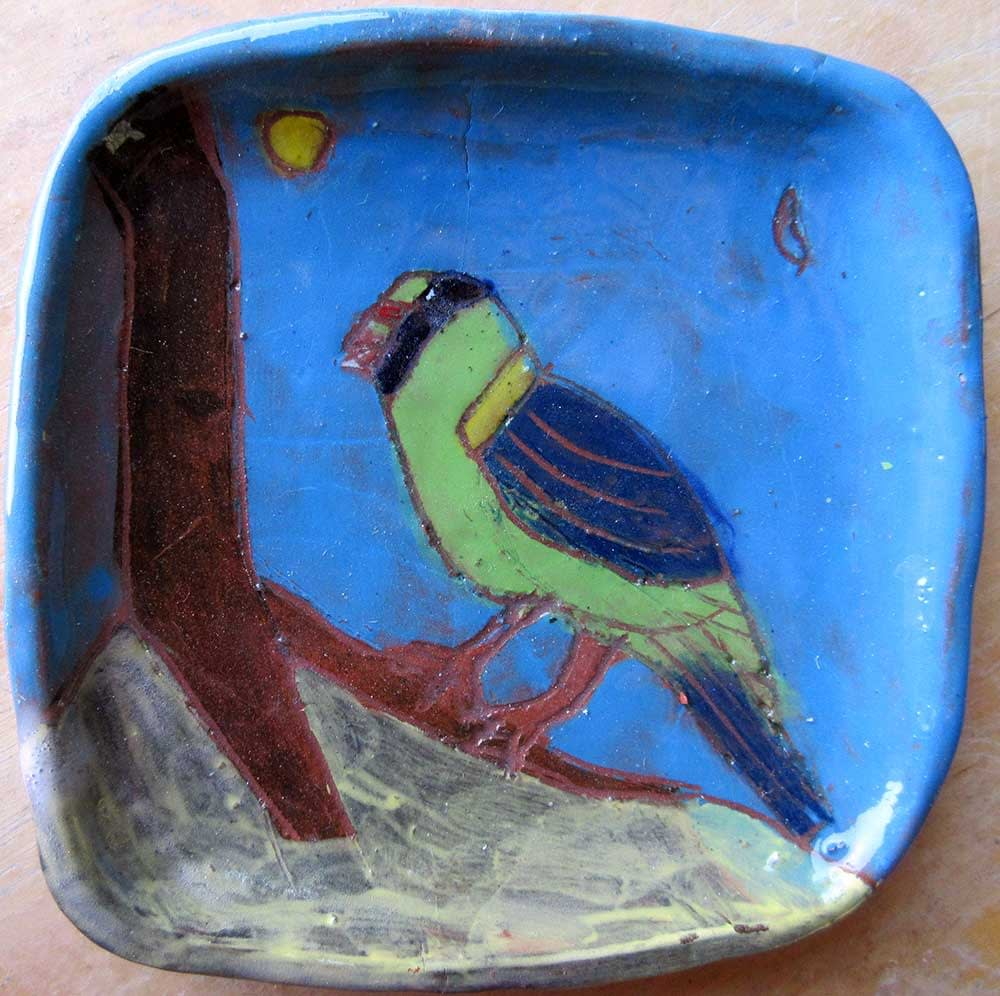 Green Blue Bird Ceramic Art by Zion Levy Stewart