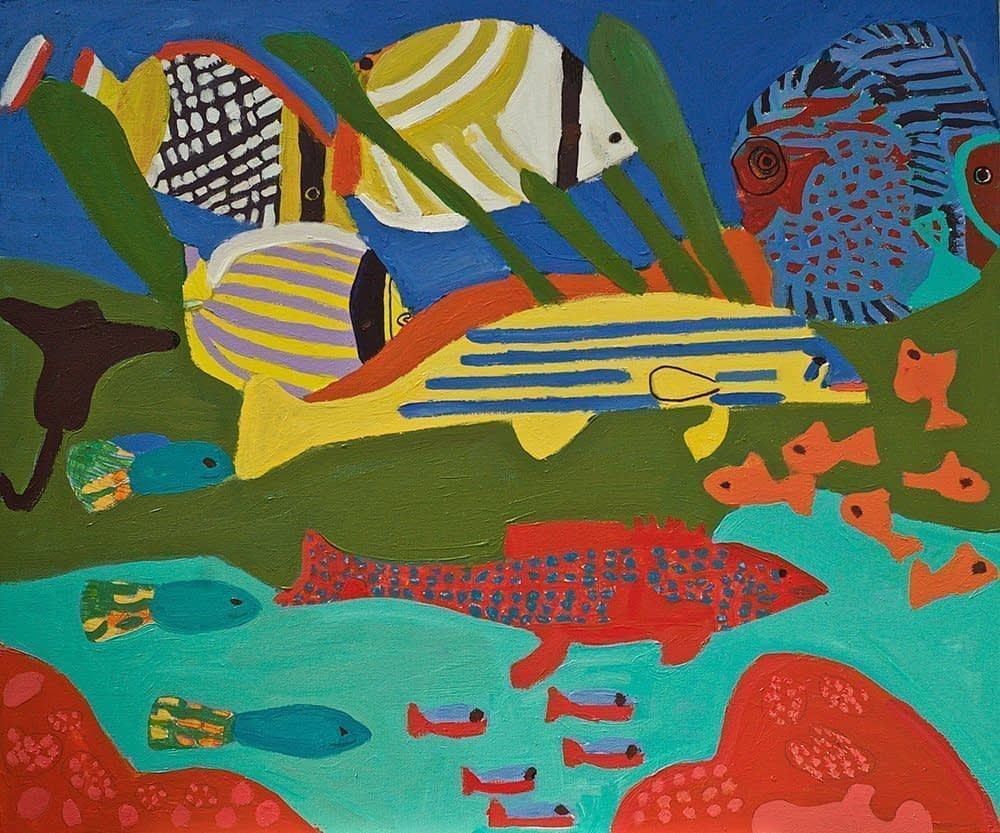 Tropical Fish Acrylic on Canvas Zion Levy Stewart Art with Heart Mullumbimby