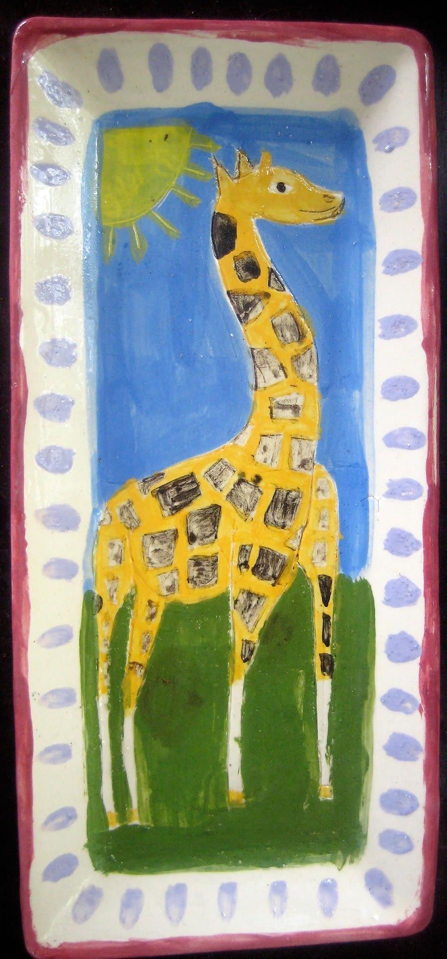 Giraffe Plate Ceramic art zion levy stewart