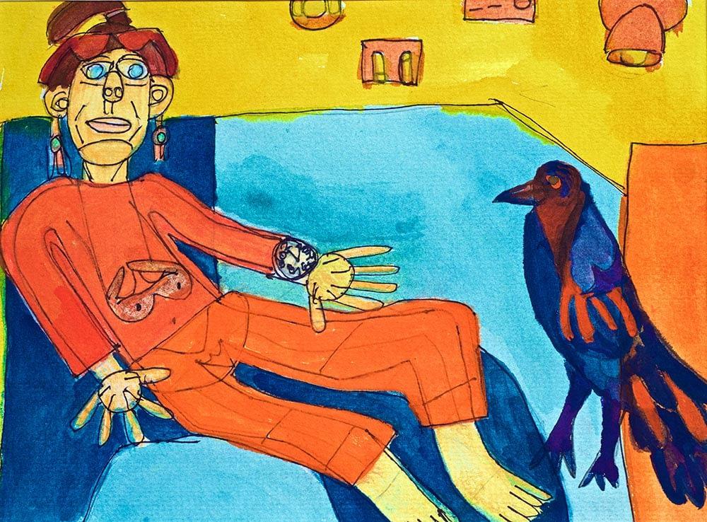 Yo Crow Framed Watercolour Zion Levy Stewart