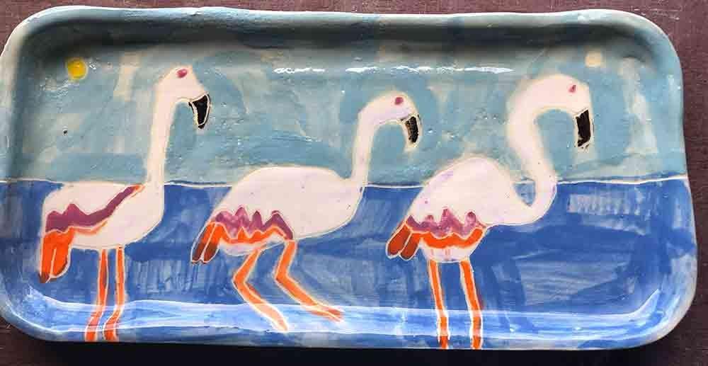 Three flamingos rectangle plate ceramic Zion Levy Stewart Paintings and Ceramics Mullumbimby Australia