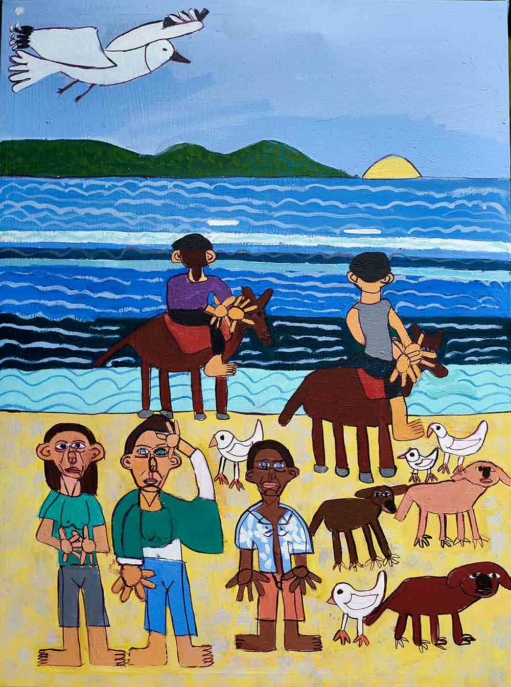 Beach Walk Acrylic on Canvas Painting by Zion Levy Stewart
