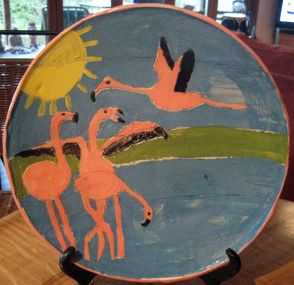 Flamingo Plate Zion Levy Stewart Ceramic Art