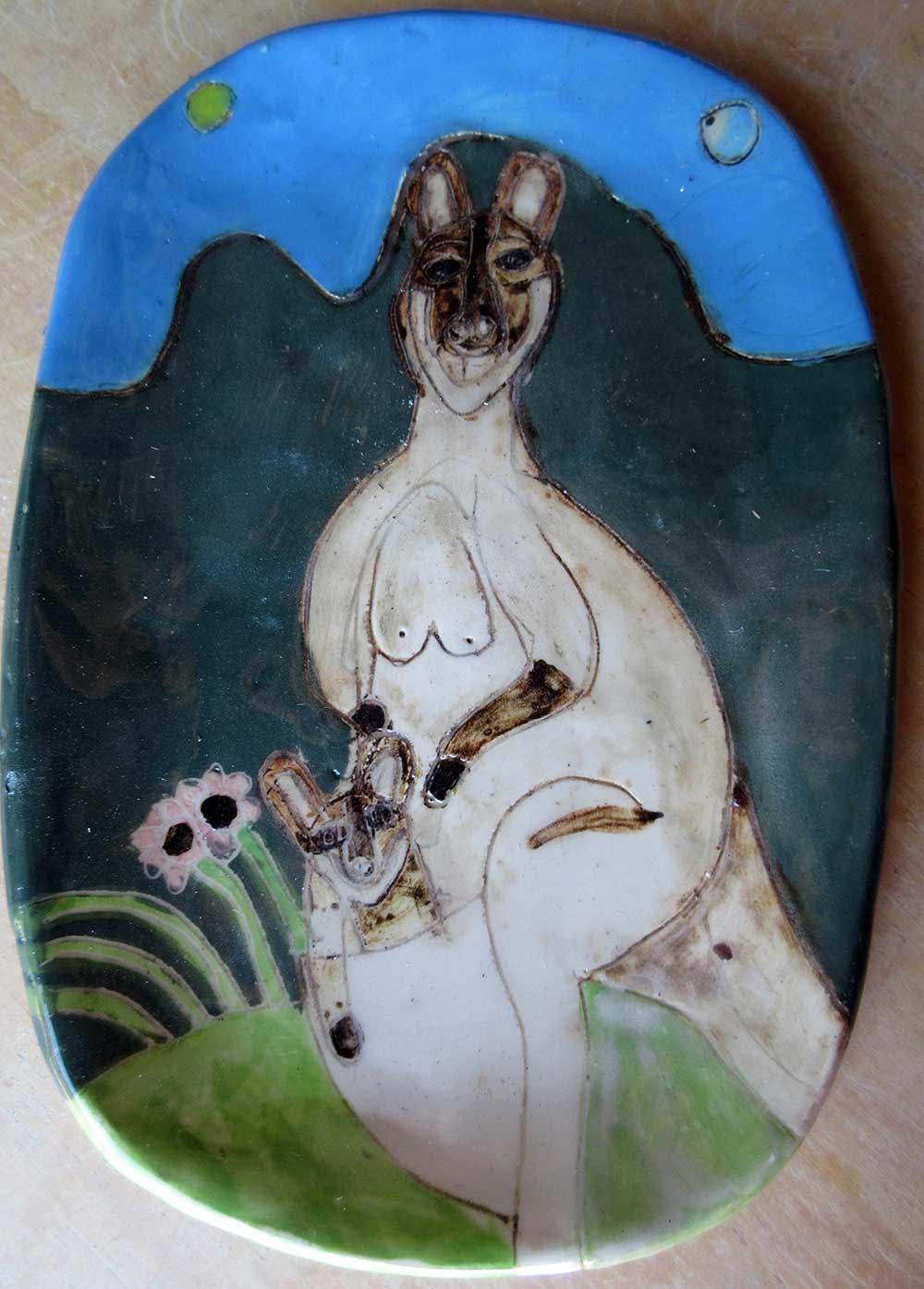 Wallabies Plate Ceramic Art by Zion Levy Stewart