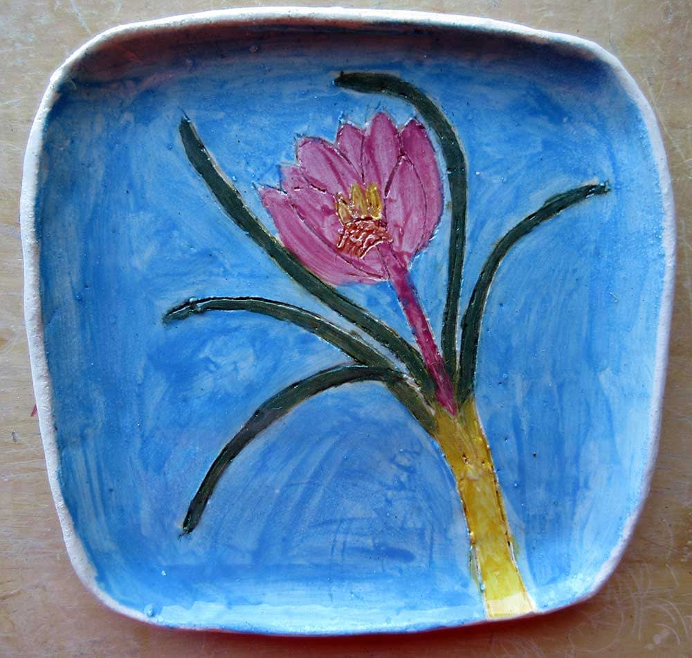 Flower Plate Ceramic Art by Zion Levy Stewart