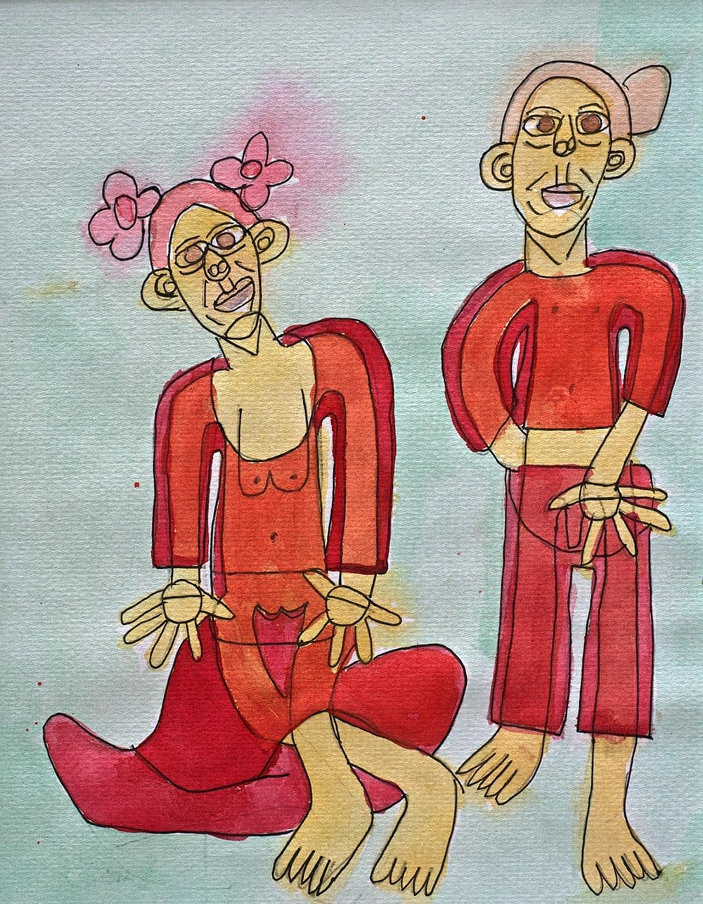pink dancers watercolour pen and wash zion levy stewart