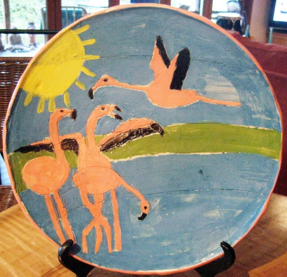 flamingo plate zion levy stewart ceramic art