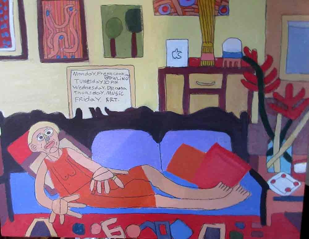 Lisa on the Lounge Painting Zion Levy Stewart Paradise Mullumbimby